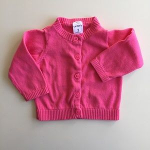 bold pink cotton cardigan